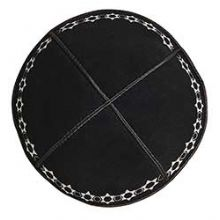 Suede Kippah with Classic Star of David Design - Black