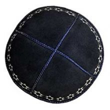 Suede Kippah with Classic Star of David Design - Navy