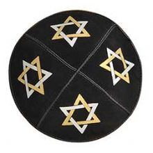 Large Stars of David Black Suede Kippah