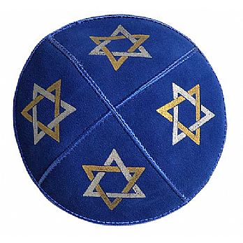 Large Stars of David Royal Suede Kippah
