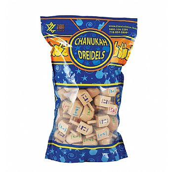 100 Pack Natural Wood Dreidels - ZipLock Bag