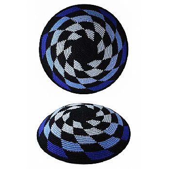 Supreme DMC Knit Kippot - Shades of Blue