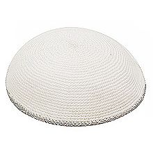 Bulk Knit Kippot - White with Silver Trim