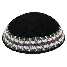 Personalized Knit Kippot - Black with Color