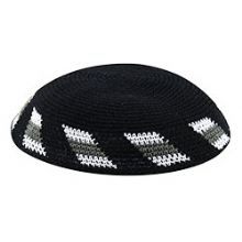 Black & White Knit Kippot - White / Grey Wheel