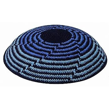 Knit Kippot Multi Blue Cascading with Imprint