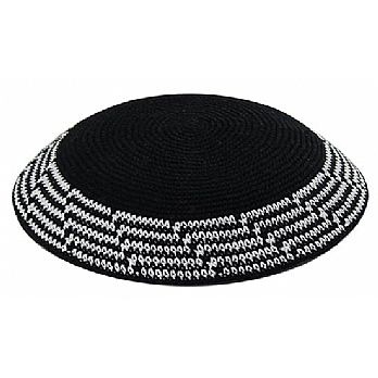 Black & White Knit Kippot - Layered