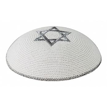 White Knit Kippot with Silver Star