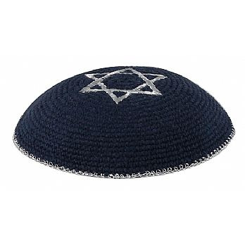 Quality Knitted Kippot - Navy with Silver Star and Rim