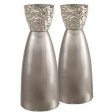 Modern ''Cloud'' Candlesticks Set - 2 Tone Silver