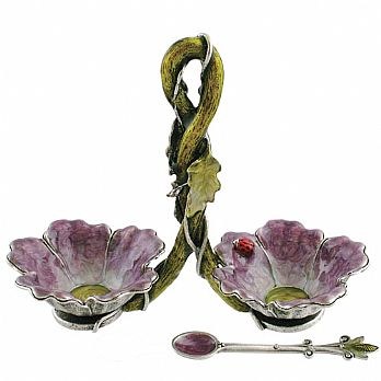 Double Floral Salt Dish - Purple/Green/Silver