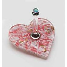 Fused Glass Heart Menorah Dreidel - Tomato/White