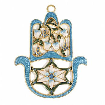 Ornate Jeweled Hamsa Wall Decor - Turquoise