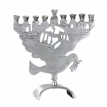 Aluminum Jerusalem Peace Dove Menorah