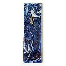 Fused Glass Mezuzah Cover - Marble Blue/Grape