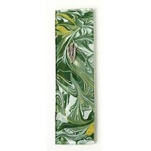 Fused Glass Mezuzah Cover - Marble Green/Gold