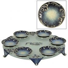 Exquisite Glass & Pewter  Seder Plate