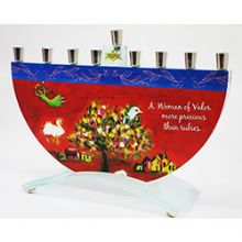Woman of Valor Menorah by Tamara Baskin - Doves