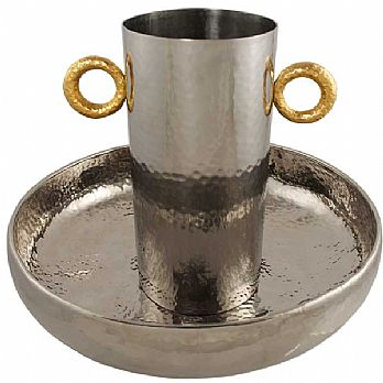 Elegant Hammered Wash cup and Basin Set