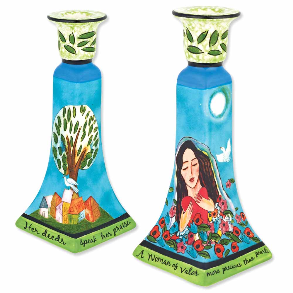 Judaica on line store shabbat products kippot jewish jewelry ceramic woman of valor candle holder set negle Choice Image