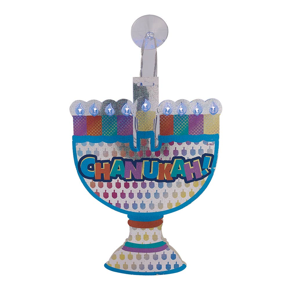 Menorah Decoration For The Window With Installed LED Lights