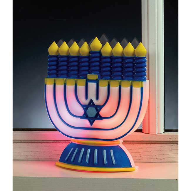 Small LED Menorah Decoration For Wall Or Window