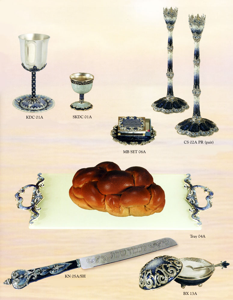 plete Shabbat Table Setting Blue Silver Collection on table setting clip art