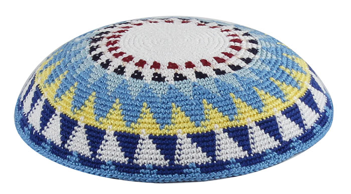 Top Of The Food Chain Knitted Kippah In A Dmc Quality