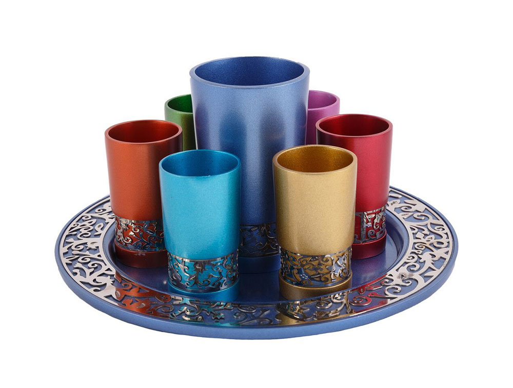 c939cdd211b Emanuel Anodized Kiddush Set with Metal Cutout - Multicolored · Zoom image  ...