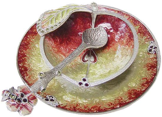 Apple Shape Zion Judaica Antique Silver and Glass 4 Piece Honey Dish