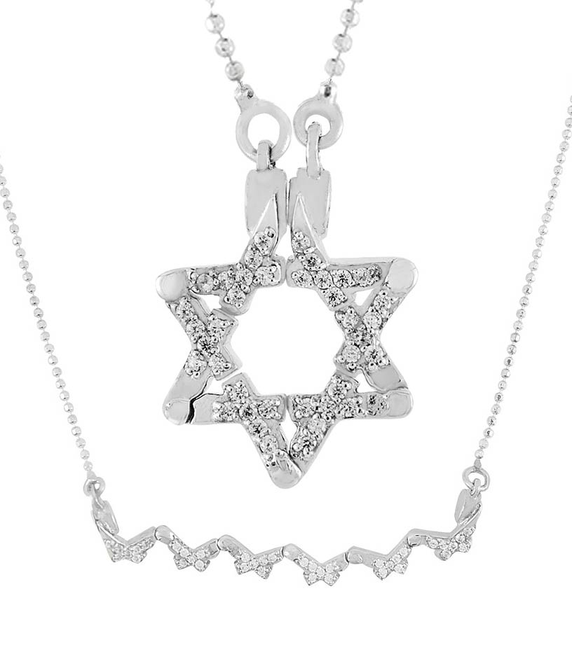 Sterling silver star of david pendant with cz stones butterfly style sterling silver star david butterfly magnetic necklace aloadofball Image collections
