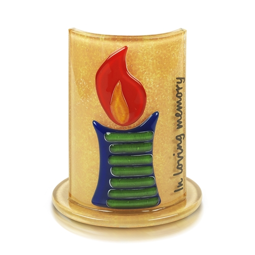 Fused Glass Designed Holder For Meorial Candle Lighting