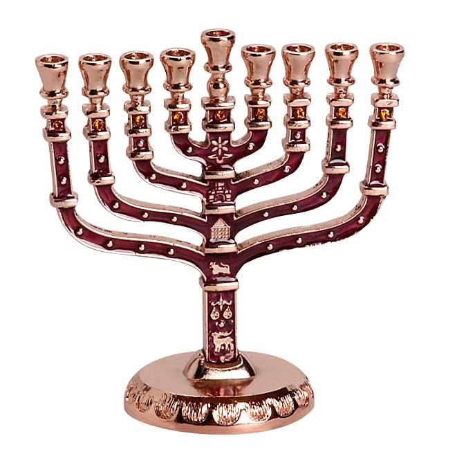 Hanukkah Candle Menorah Traditional With Jewish Symbols