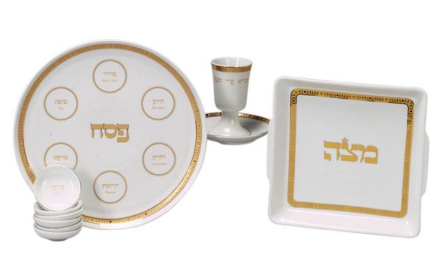 Complete Porcelain Seder Set Classic Gold White