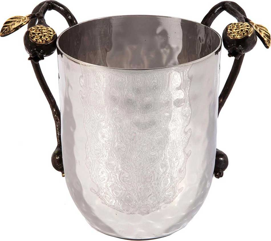Hammered Wash Cup With Grape Branches By Emanuel