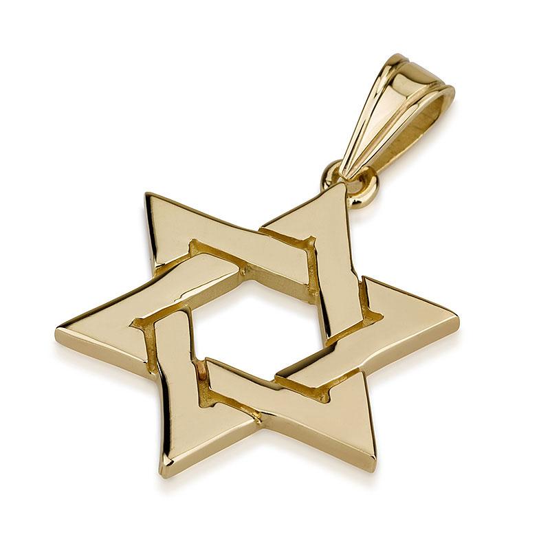 Interlocking 14k gold star of david pendant 14k gold interlocked star of david pendant aloadofball Images