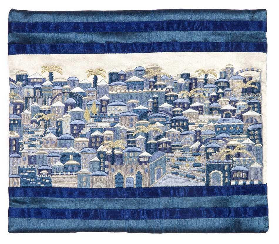 Emanuel Full Embroidered Jerum Tallit Bag Blue