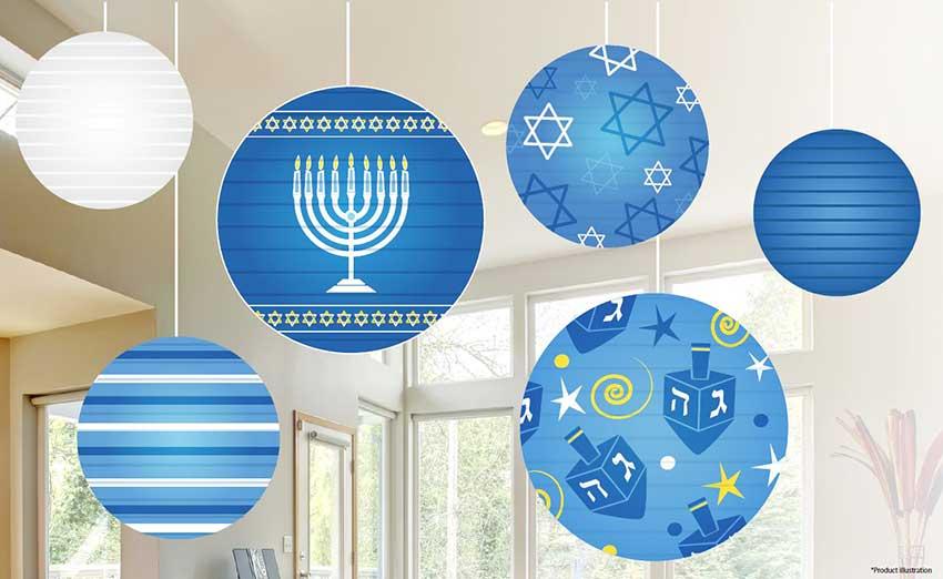 Hanukkah Ball Lantern Decoration Ceiling Mount 6 Set