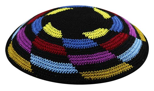 Colorful Knit Kippot Multi colors in a whirlpool pattern