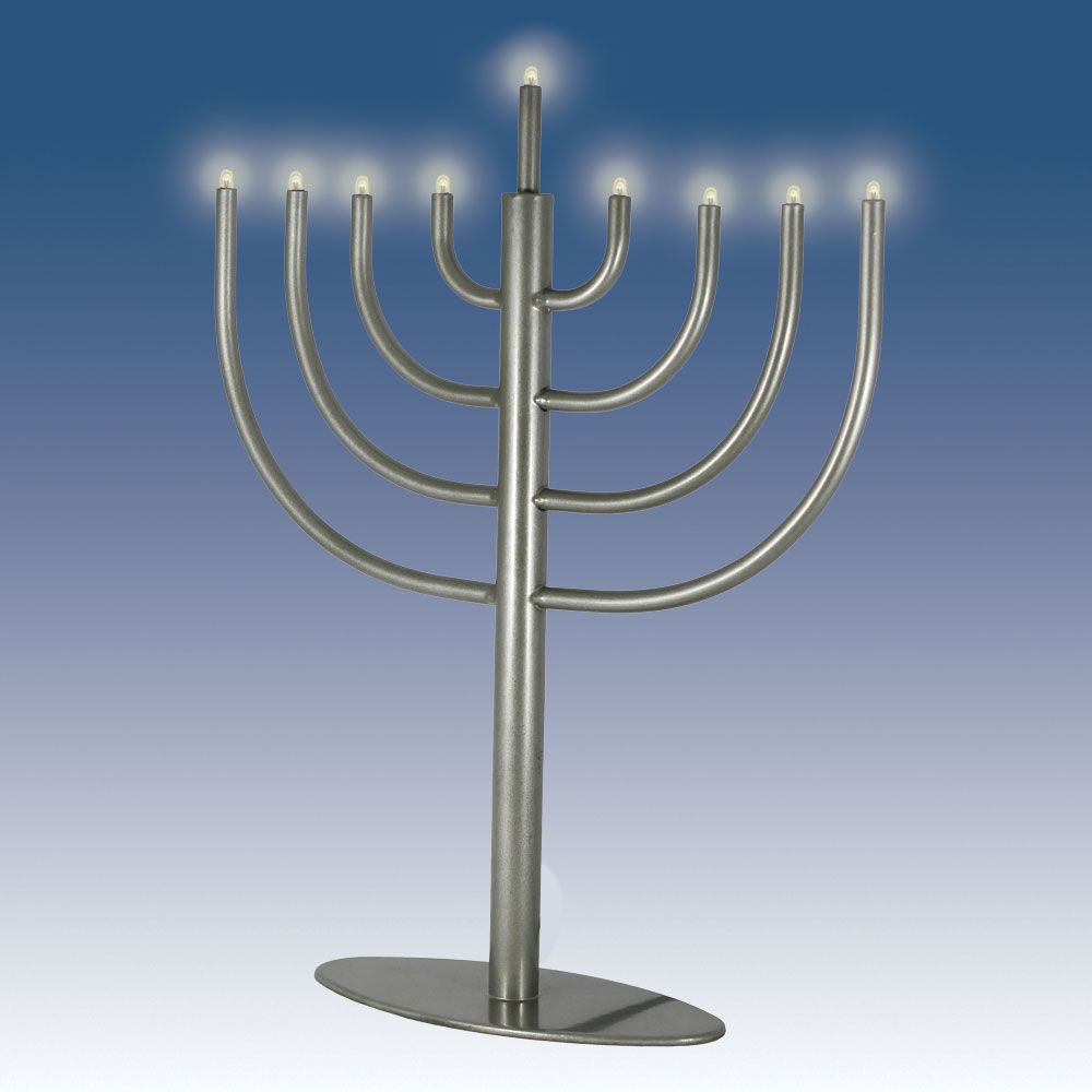 Traditional Low Volt Electric Menorah Pewter