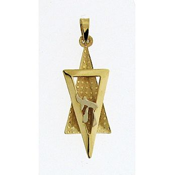 14K Gold 3D Star of David Pendant & Chai