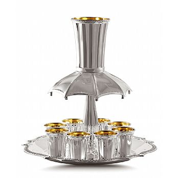 Sterling Silver Wine Fountains - Fluted 8 Cups