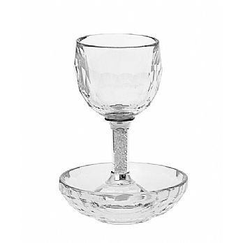 Crystal Wine Goblet with Deep Coaster