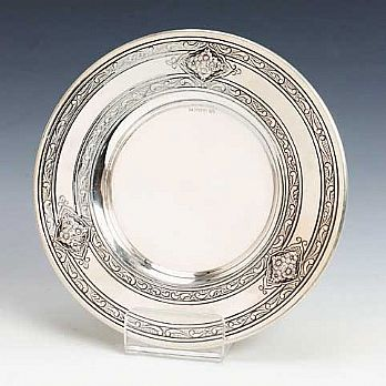 Sterling Silver Kiddush Cup Tray - Roses