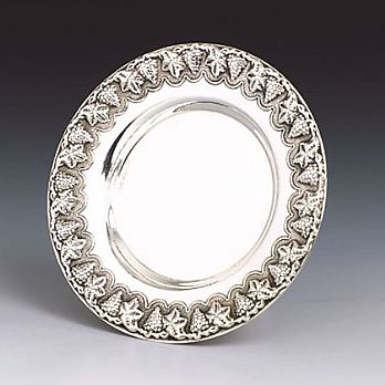 Sterling Silver Kiddush Cup Tray - Vine