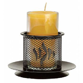 Black Iron Memorial Candle Holder w/Beeswax Candle