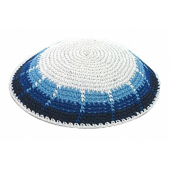 Hand Made Knitted Kippah - Fence/Israeli Colors