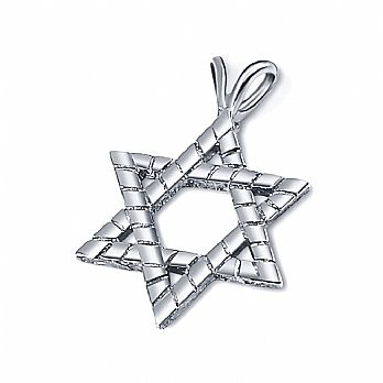 Thick Sterling Silver Star of David - Brick Style