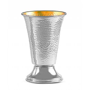 Sterling Silver Kiddush Wine Goblet - Modern Hammered Cup