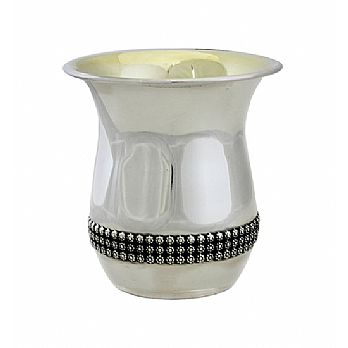 Sterling Silver Kiddush Cup - Beaded Band